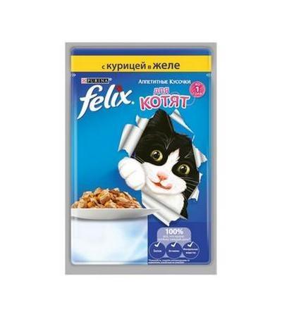 Felix консервы для котят Аппетитные кусочки, курица 85г