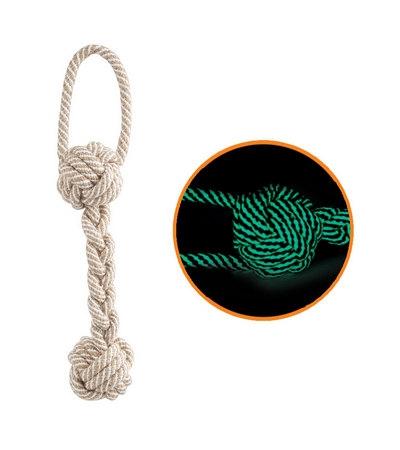 """Игрушка для собак """"Веревка - плетеная гантель с петлей"""" (светится в темноте)"""