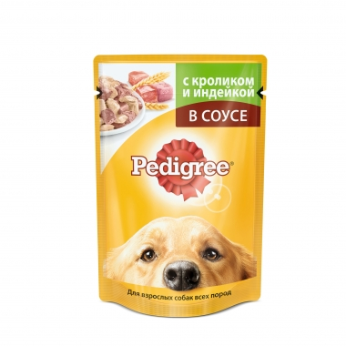 PEDIGREE® для взрослых собак всех пород с кроликом и индейкой в соусе 85г