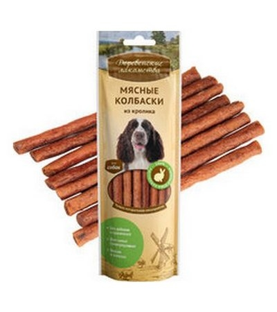 Деревенские Мясные колбаски для собак из кролика 50г
