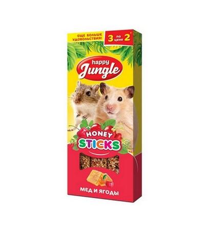 Джунгли палочки для мелк.грызунов мёд и ягоды 3шт, 90г
