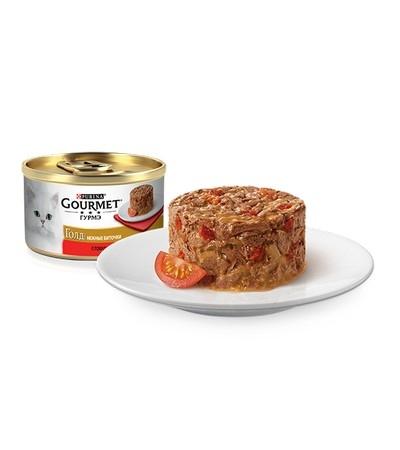 Gourmet (Гурмэ) Голд Нежные биточки  с говядиной и томатом 85г