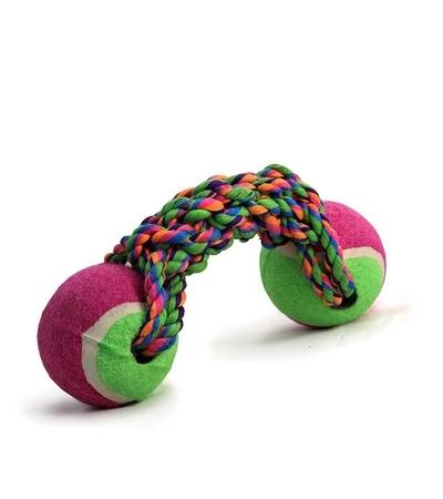 "Игрушка для собак ""Веревка, 2 мяча"", d65/200мм"