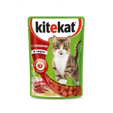 Консервы Kitekat для Кошек с Говядиной в Соусе 85г
