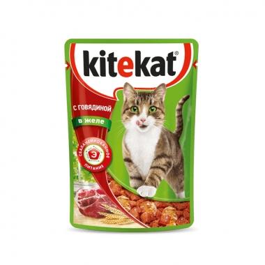 Консервы Kitekat для Кошек с Говядиной в Желе 85г