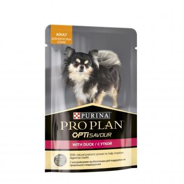 Purina Pro Plan паучи для взрослых собак кусочки в соусе с уткой 100г