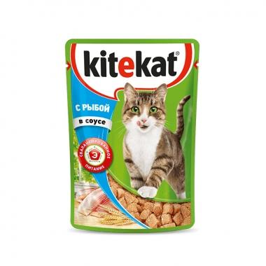 Консервы Kitekat для Кошек с Рыбой в Соусе 85г
