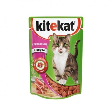 Консервы Kitekat для Кошек с Ягненком в Соусе 85г