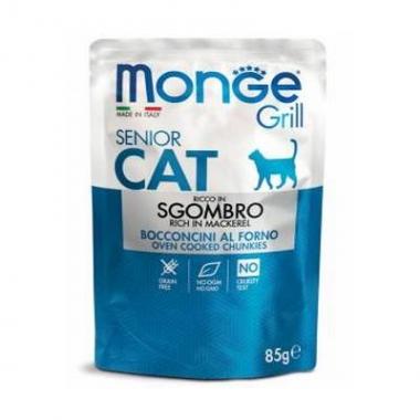 MONGE CAT GRILL SENIOR MACKRELL/Кусочки для пожилых с макрелью 85 гр